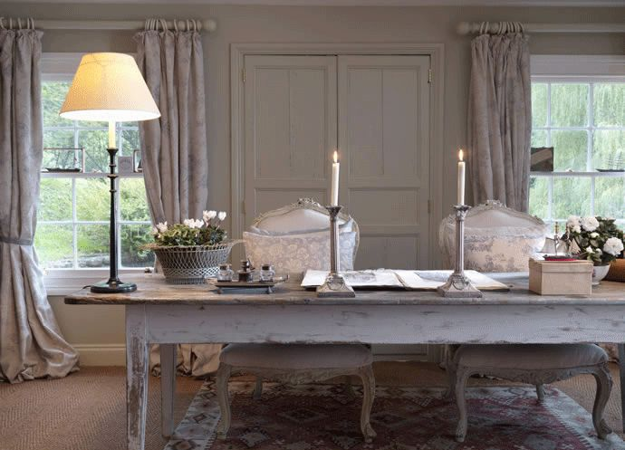 Faded floral fabrics by Cabbages & Roses in muted shades of blue grey, I love this dining room....simply gorgeous!