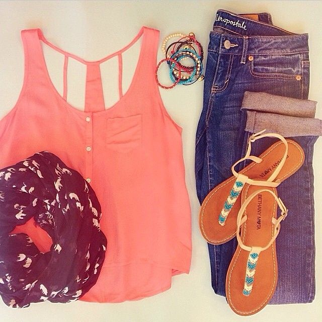 tank top, infinity scarf, skinny jeans, sandals