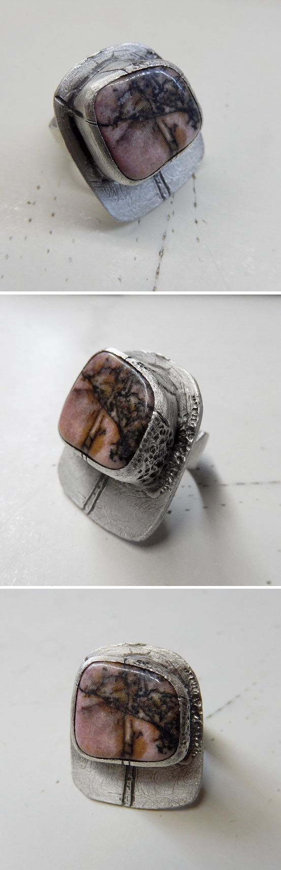 Sterling Silver Statement Ring with Rhodonite Stone by applenamedD