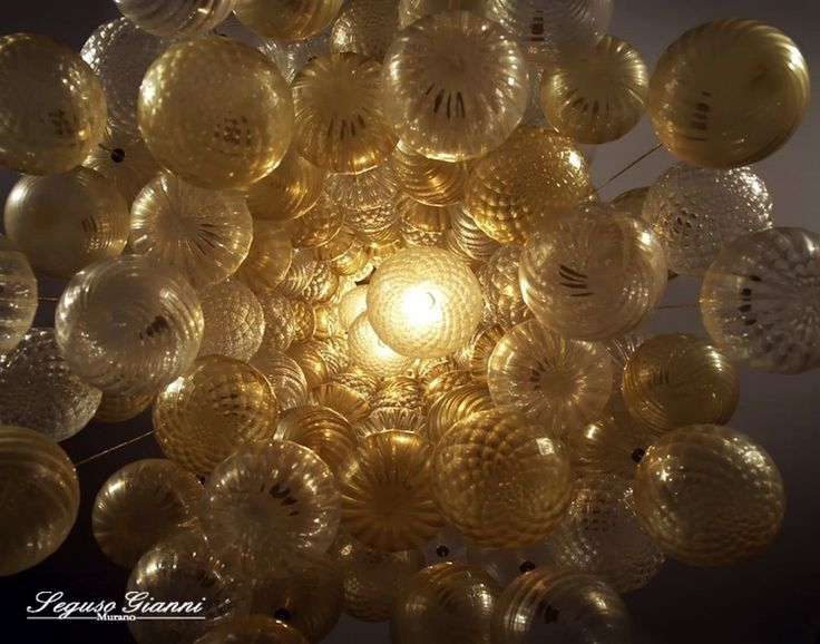 Murano Glass, bubble gold pendant chandelier #muranoglass #murano #lighting #seguso #yourmurano #chandelier #masterpieces
