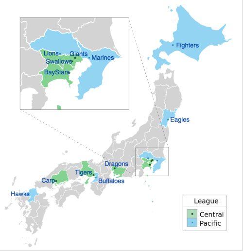- Nippon Professional Baseball as of 2016.