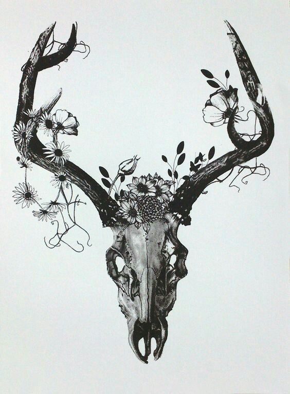 Floral Antler Tattoo: With Coloured Flowers