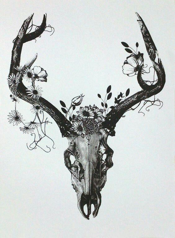 with coloured flowers | Tattoo ideas | Tattoos, Deer skull ...