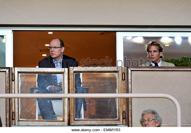 01.AUGUST.2011. Monaco PRINCE ALBERT II OF MONACO AND PRINCESS CAROLINE'S SON ANDREA CASIRAGHI SUPPORT THEIR FOOTBALL TEAM PRIOR TO THE START OF THE FRENCH LEAGUE TWO FOOTBALL MATCH BETWEEN MONACO AND BOULOGNE IN MONACO STADIUM - Stock Image