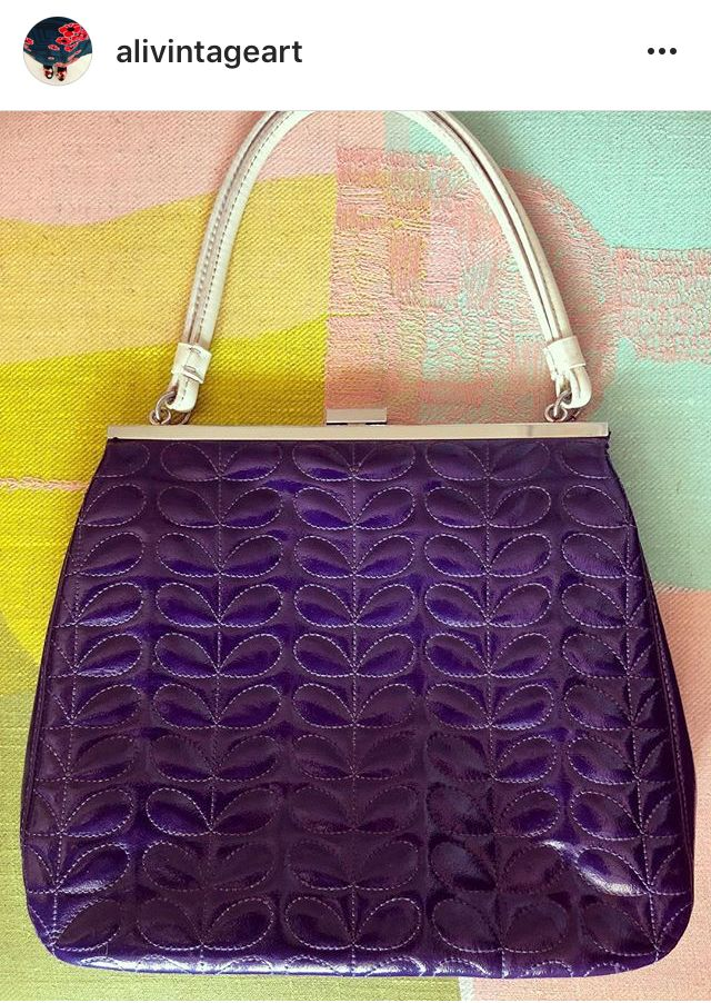 23724ef346 A most rare of Orla Kiely Holly bags. Orla Kiely purple quilted holly bag.Photo  from Alivintageart Instagram