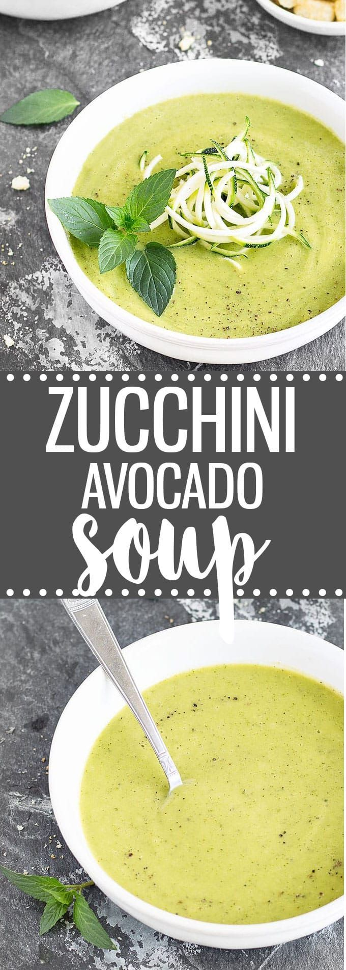 Creamy Zucchini Avocado Soup: a 20-minute healthy, easy recipe. | vegan via /easyasapplepie/