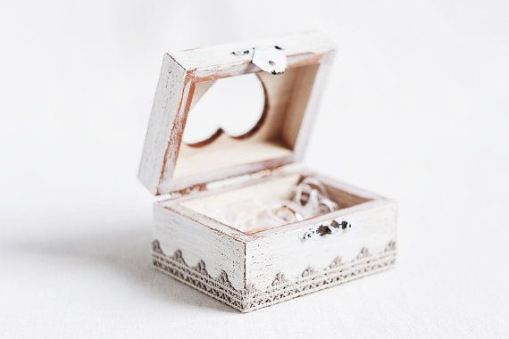 White rings wedding boxes and vintage style on pinterest