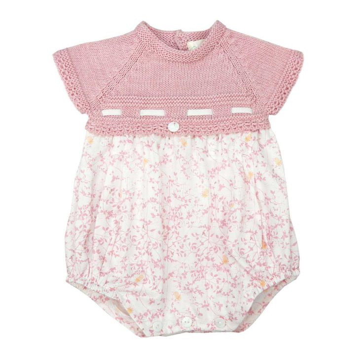 Wedoble ribbon rose romper | Portuguese baby clothes | Spanish baby clothes | knitted baby clothes