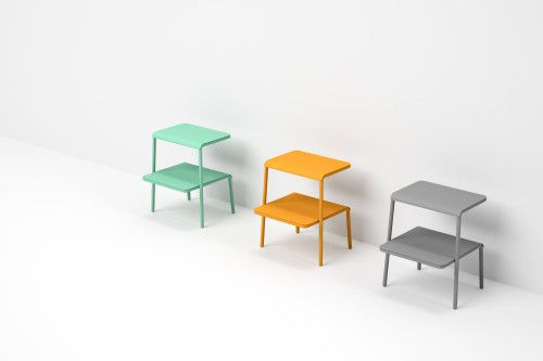 Hana is a minimalist design created by Taiwan-based designer Kenyon Yeh. The design is constructed of powder coated steel, and comes in a variety of colors including grey, orange, and teal. Yeh describes the design as a step-stool, perfect for use within the bathroom or bedroom. Small accessories can be placed between the shelving. (2)