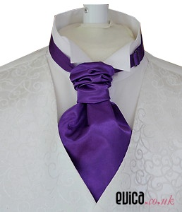 Cadbury purple bridal satin ruche cravat tie
