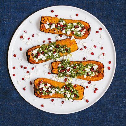 Sabrina Ghayour's butternut Squash with pistachio, pesto and feta recipe | Food | Redonline.co.uk
