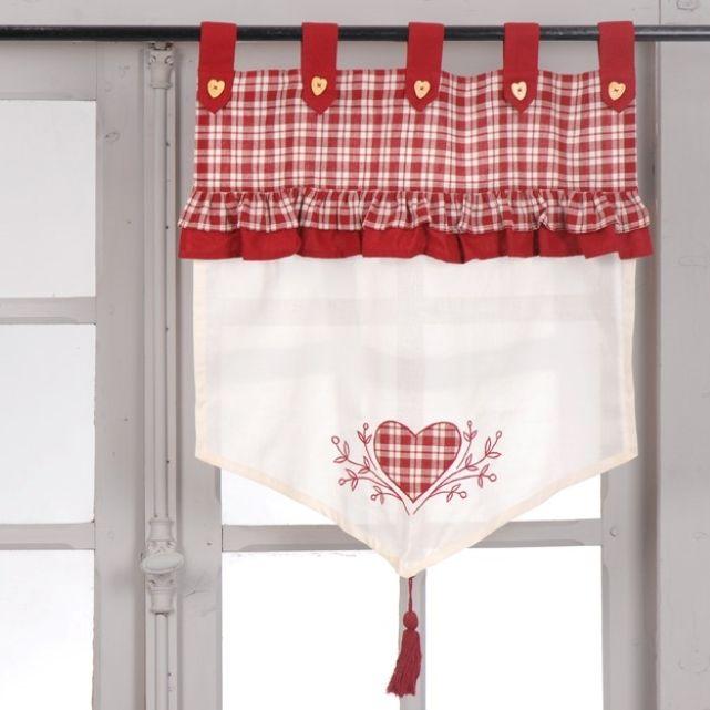 Brise bise carreaux rouge coeur - curtain