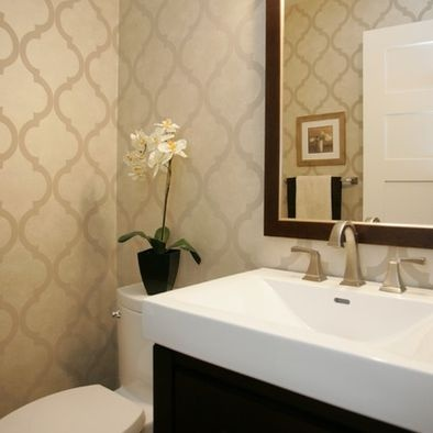 Neutral Wallpaper In Bathroom. Like The Contrast With The Vanity.