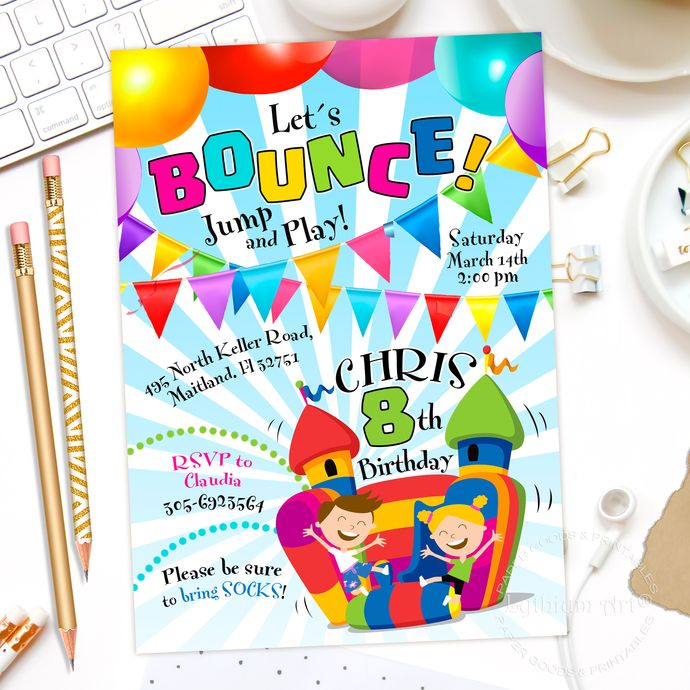 Jump Invitation, Bounce House Invitation, Jump Party Invitation, Jump Birthday Invitation, Bouncy House, Pump It Up Party,Digital Invitation by Lythiumart, $6.99 USD
