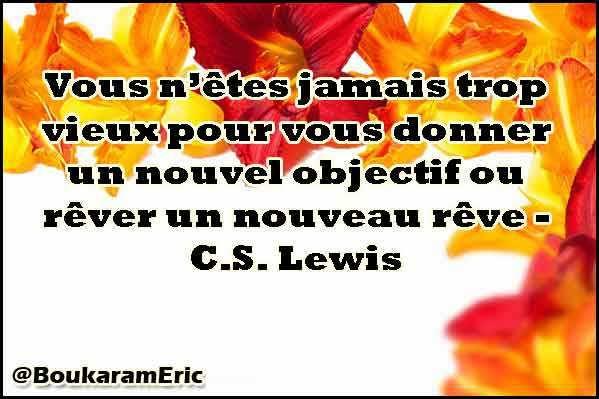 Vous n'êtes jamais trop vieux pour vous donner un nouvel objectif ou rêver un nouveau rêve - C.S. Lewis