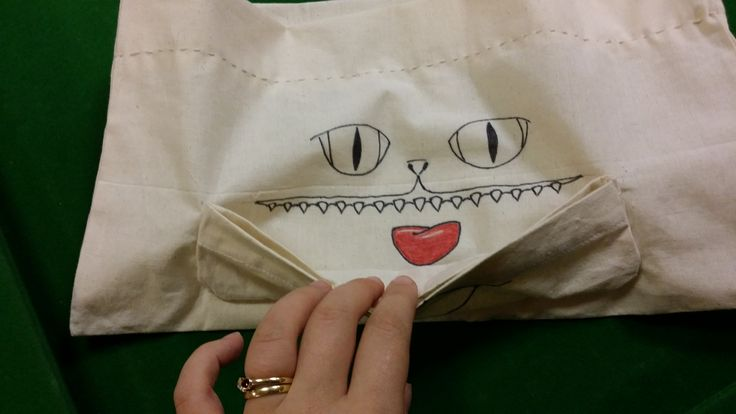 The cat's out of the bag... one of our clinical trial volunteers made this from a canvas shopping bag!