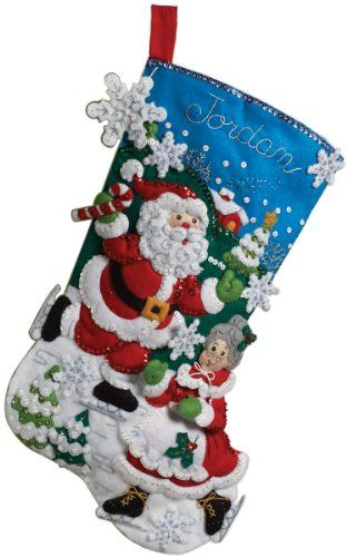 Bucilla 18 Inch Christmas Stocking Felt Applique Kit, The Skating Clauses