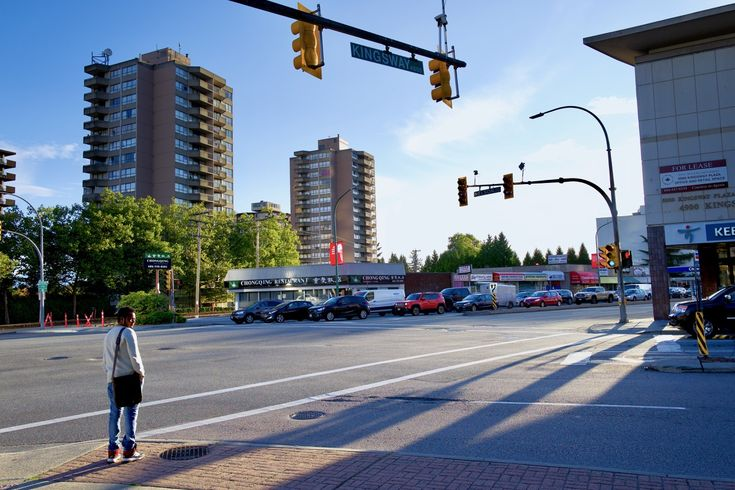 Long shadows at rush hour in Metrotown at Burnaby, B.C. Click image to enlarge.