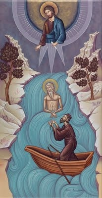 Icon depicting the finding of the sacred body of St. Kosmas