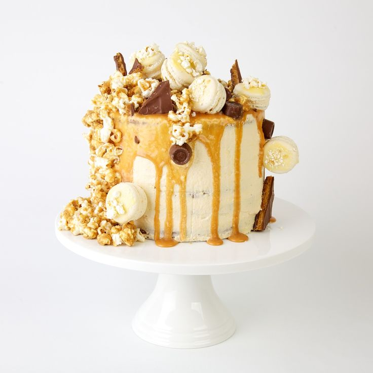 SALTED CARAMEL AND POPCORN Layer Cake with Popcorn Macarons and home made Daim bars