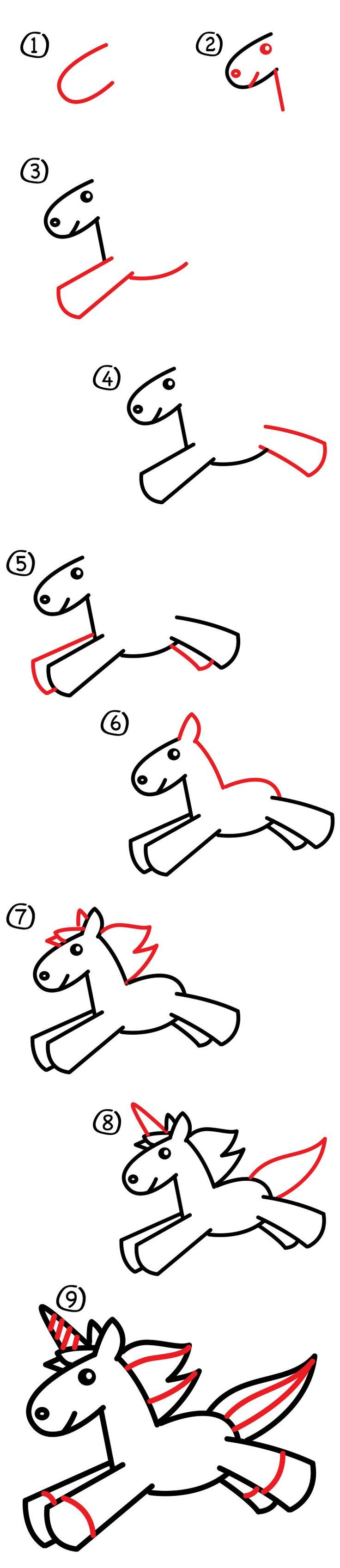 how to draw a unicorn for kids drawing how to step. Black Bedroom Furniture Sets. Home Design Ideas