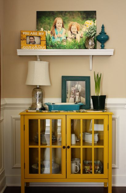 I LOVE this little accent cabinet from Target!! (Threshold Windham) It's the perfect size for the spot - not too deep, not too tall, not too wide.  And.  it comes in RED.