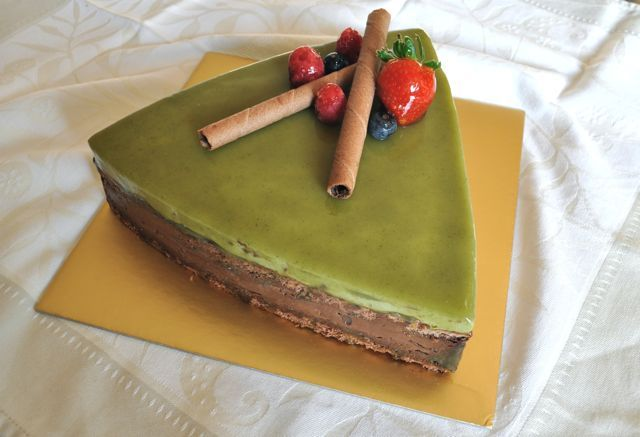 Chocolate, Red Bean and Matcha Mousse Cake