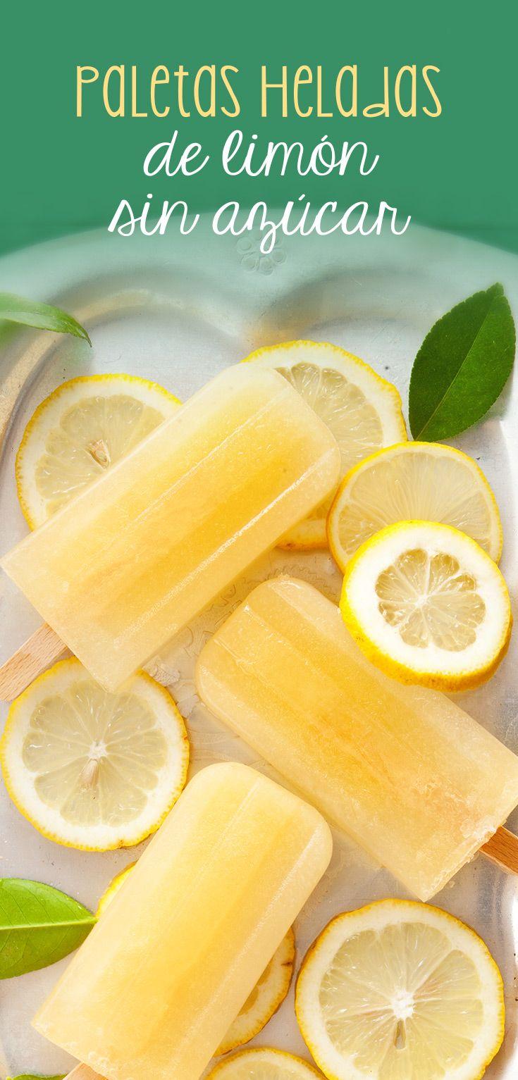 Deliciosas paletas de limón con sustituto de azúcar para cuidar la salud. Excelente opción para verano, reuniones de niños o postre saludable. Si les gusta lo natural se puede sustituir el azúcar por miel de su preferencia.