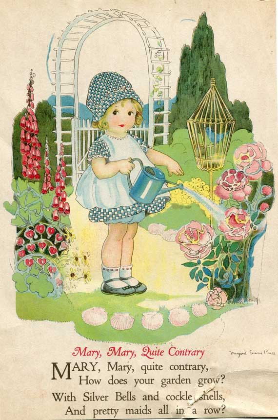 A pair of 1920s vintage childs story book illustrations, prints for framing from a recycled childs nursery rhyme book illustrated by Margaret