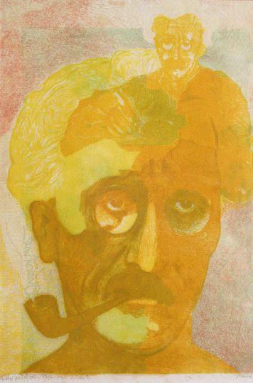 Josef Váchal, Autoportrét, 1925, barevný dřevoryt, Regionální muzeum a galerie v Jičíně