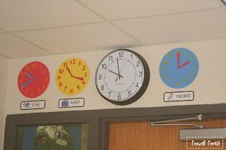 """Put up clocks next to your classroom clock of some of the regular routines/times! Helps the students read the clock SO much better and eliminates those """"when is recess?"""" questions!"""