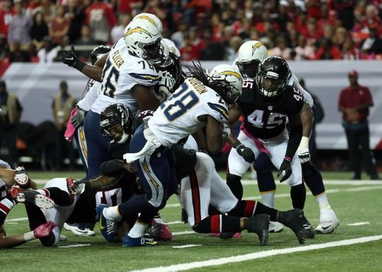 Chargers vs. Falcons:     October 23, 2016  -  33-30, Chargers  -      Oct 23, 2016; Atlanta, GA, USA; San Diego Chargers running back Melvin Gordon (28) scores a rushing touchdown in the second quarter of their game against the Atlanta Falcons at the Georgia Dome. Mandatory Credit: Jason Getz-USA TODAY Sports