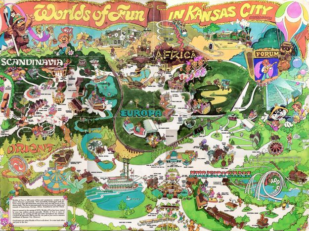 An old Worlds of Fun map Retro Pinterest Places Signs and World