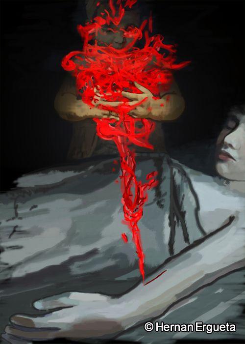 """Ilustracion del cuento titulado """"No es nada"""" (Do Not Worry) del libro: El Santuario que Arde"""" de Hernán Ergueta #hernanergueta #ilustracion #cuentos"""