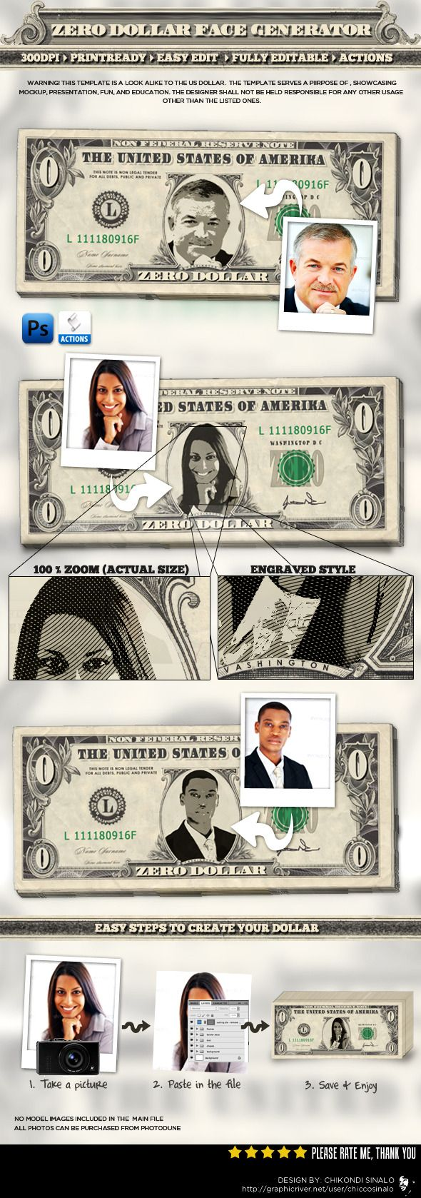 Zero Dollar Face Generator, this tool puts your face on a zero dollar bill with quick and easy steps. It can be use in many application. • Only available here ➝ http://graphicriver.net/item/zero-dollar-face-generator/3190187?ref=pxcr
