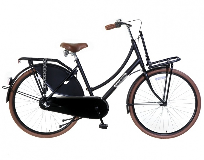 Transportfiets Daily Dutch Mat Zwart 28 Inch   bestel gemakkelijk online op Fietsen-verkoop.nl