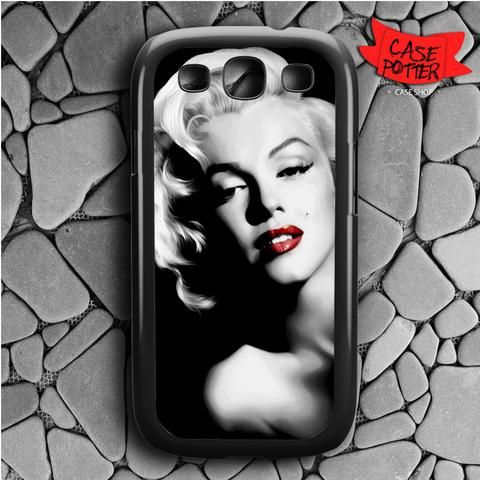 Red Lips Marilyn Monroe Samsung Galaxy S3 Black Case