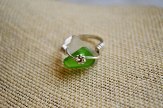 Check out Green and White SeaGlass Wrapped Ring size 6 ~ Bohemian jewellery Birthday present for her  ~ Beachy Glass Ring for Mom, Wife, Beach lover on gulfcoasttreasure