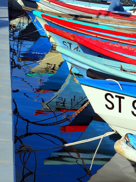 Row of boats by Marite2007, via Flickr ~  Meze, Etang de Thau, Languedoc, France