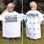My son is starting preschool next week {insert Mommy sad face}, so we're beginning a little back-to-school tradition: ✏️We'll snap his photo wearing this graduating class shirt (2031?!?), AND we'll also add his cute little handprint to the back at the start of every grade. It'll be such a fun way to document his growth! Full details are #ontheblog!