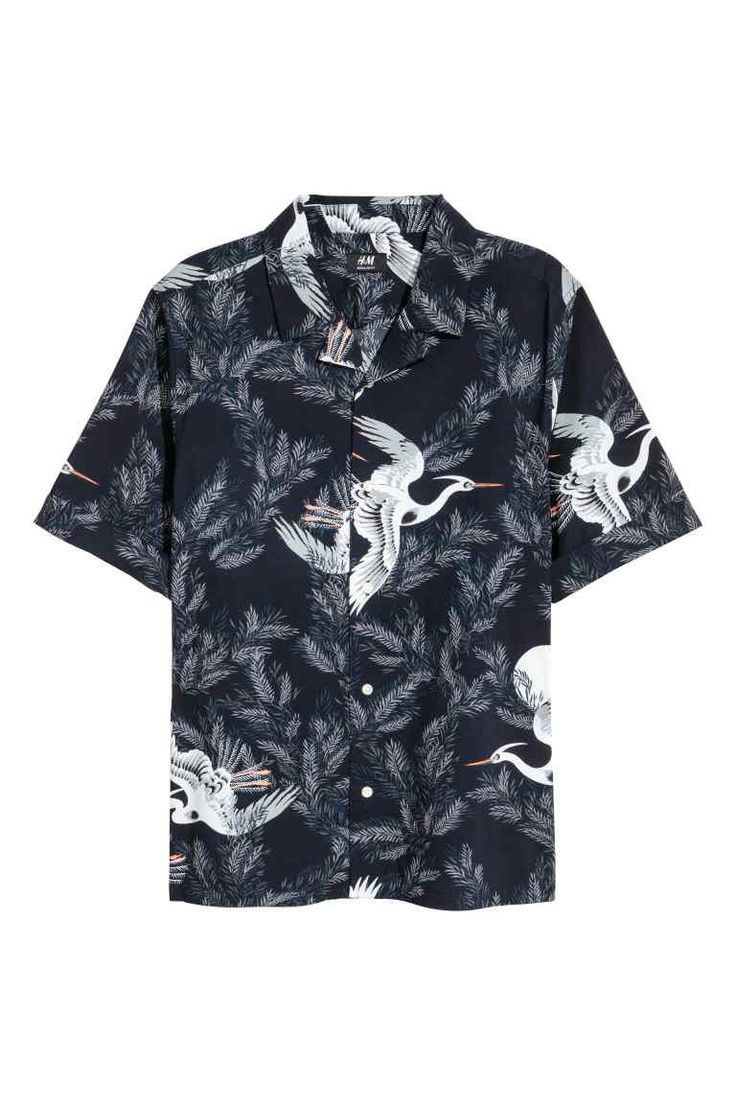 Casual overhemd - Regular fit - Donkerblauw/vogels - HEREN | H&M NL