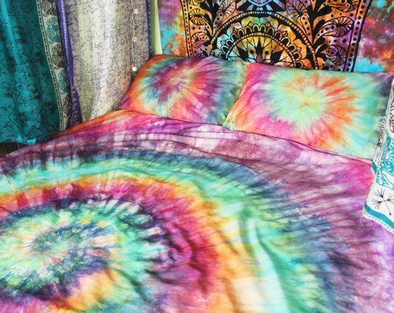Tie Dye Duvet Cover and Pillow Cases - Hand Sewn Bed Set - Hippie Bedding -  Rainbow Bedding - RAINBOW SWIRL R - Best 25+ Hippie Bedding Ideas On Pinterest Hippie Room Decor