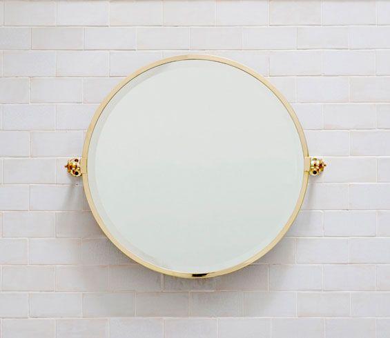 Hanbury Round Bathroom Mirror In Brass Balineum