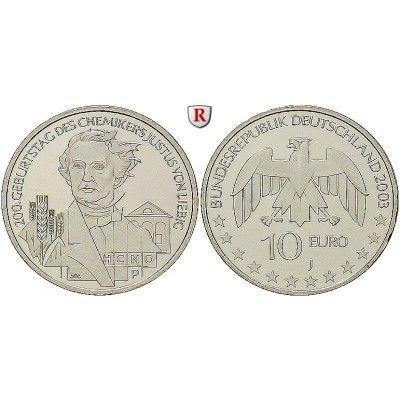 Bundesrepublik Deutschland, 10 Euro 2003, Justus von Liebig, J, bfr., J. 498: 10 Euro 2003 J. Justus von Liebig. J. 498; bankfrisch… #coins