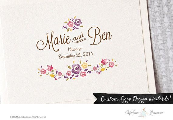 Premade Wedding Logo Wedding Monogram Watercolor Save the Date Wedding Floral Logo