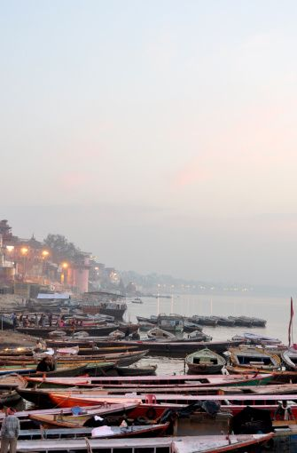 Boats on Ganges river in morning