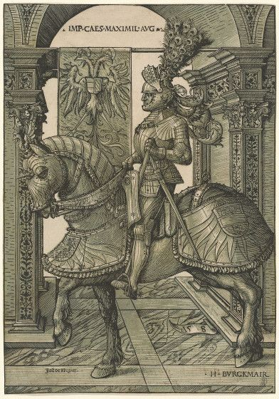Maximilian I Hans Burgkmair I, German, 1473 - 1531, Emperor Maximilian I, 1508/1518, chiaroscuro woodcut in green printed from two blocks.