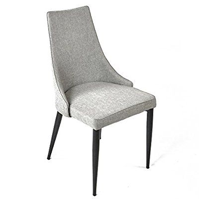 Charles Jacobs Fabric High Back Trend Lounge Kitchen Dining Chairs X2 Grey Cotton Vanity
