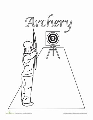 Archery Coloring Sheet Homeschooling