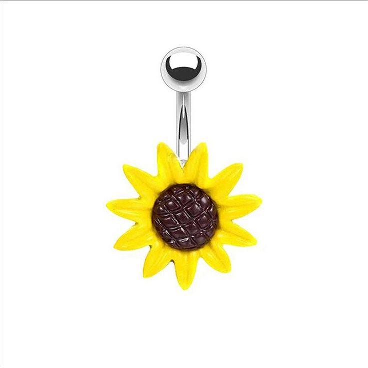 Gelbe Sonne Blume Nabel / Bauch Ring / Chirurgenstahl / gelb oder weiß / Bauchnabel Ring / nicht baumeln / Bauchnabel Piercing   – Belly button jewellery